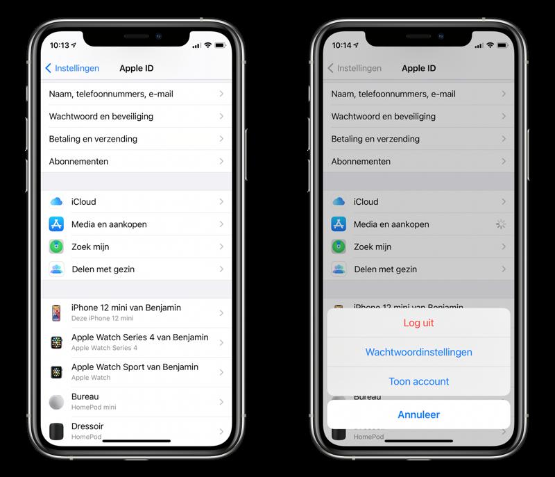 App Store uitloggen in iOS 14.