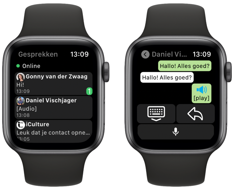 WatchChat 2 voor WhatsApp op Apple Watch.