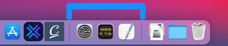 Recente apps dock Mac