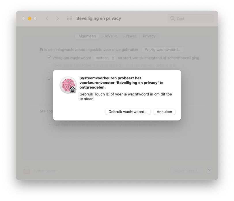 macOS Big Sur wachtwoord en Touch ID.