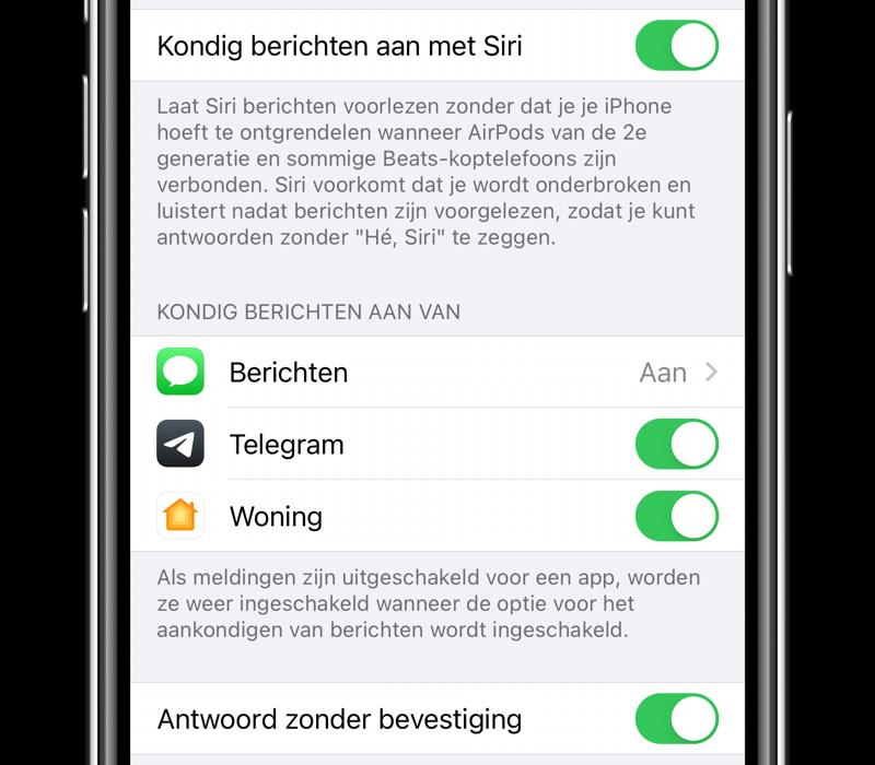 Telegram Siri berichten aankondigen.