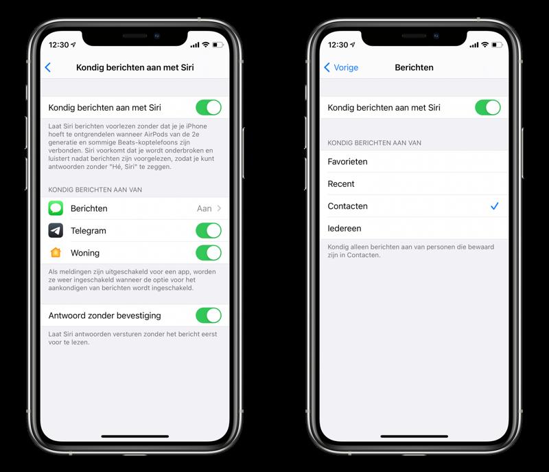 Siri berichten voorlezen via AirPods: kondig berichten aan.