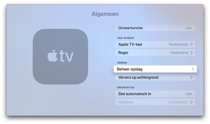 Apple TV: beheer opslag.