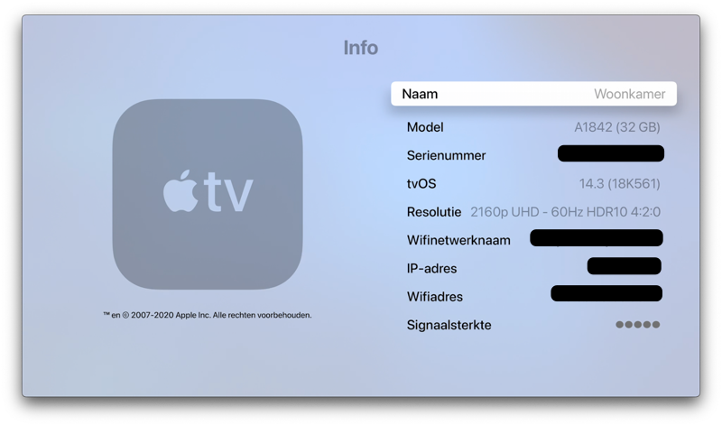 Apple TV opslagcapaciteit controleren.