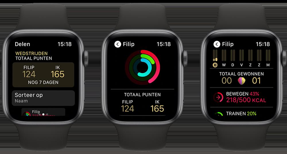 Wedstrijd in Activiteit-app op Apple Watch