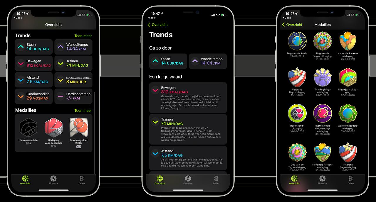Trends en medailles in de Conditie-app