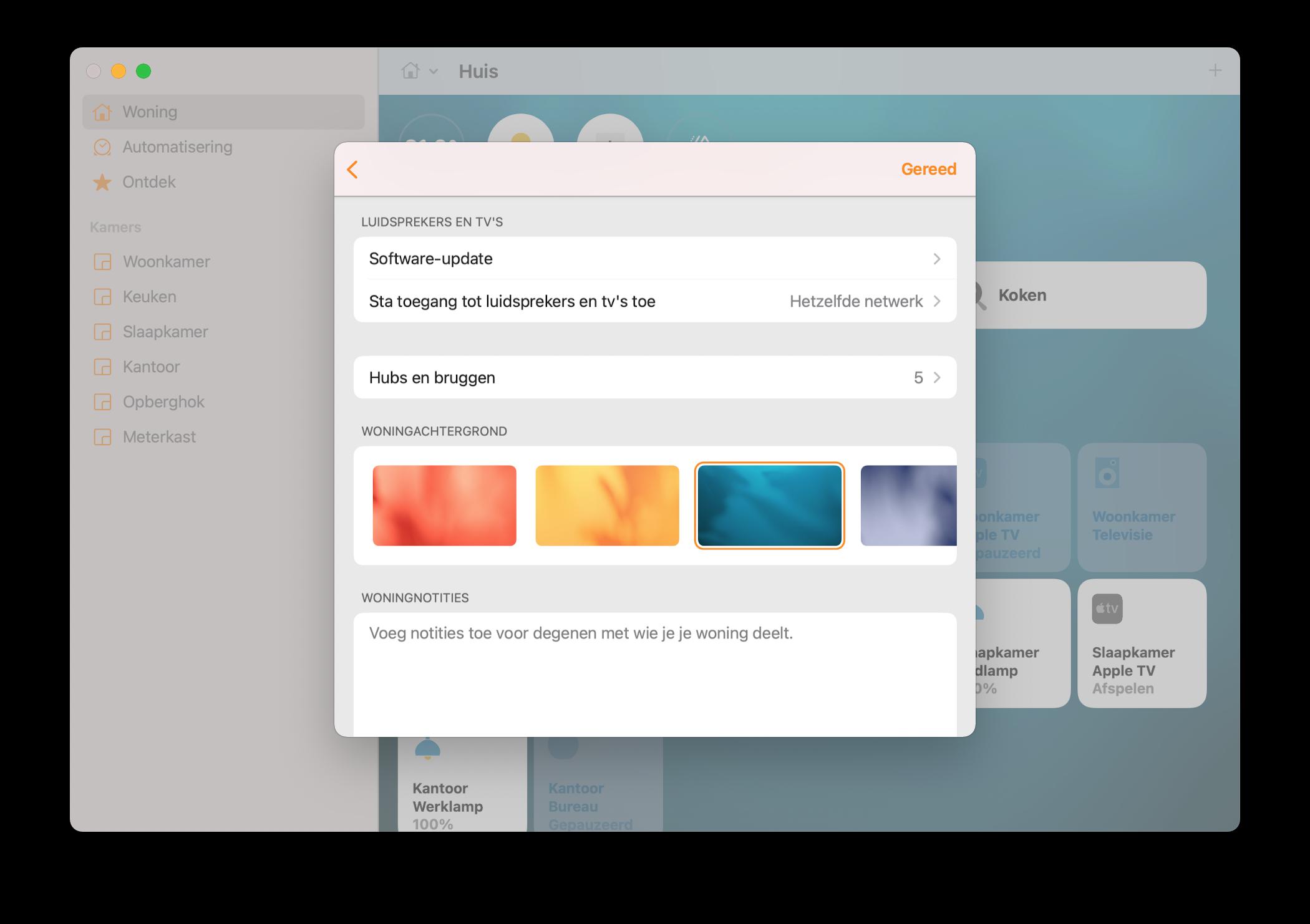 HomeKit op de Mac: achtergrond wijzigen in Woning-app.
