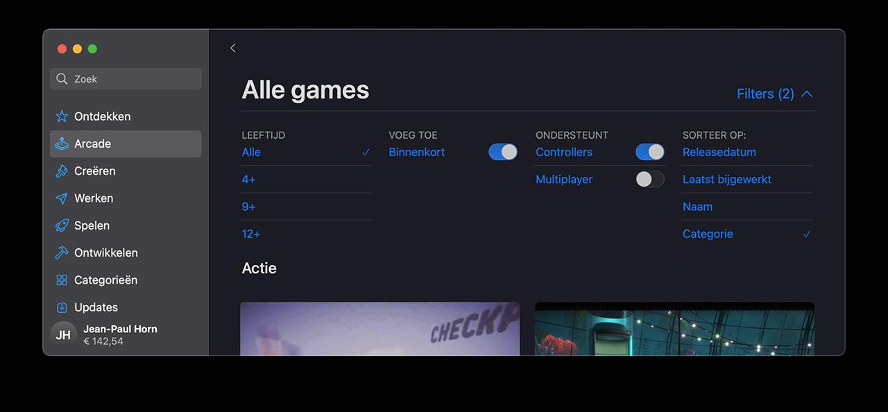 Apple Arcade-games sorteren