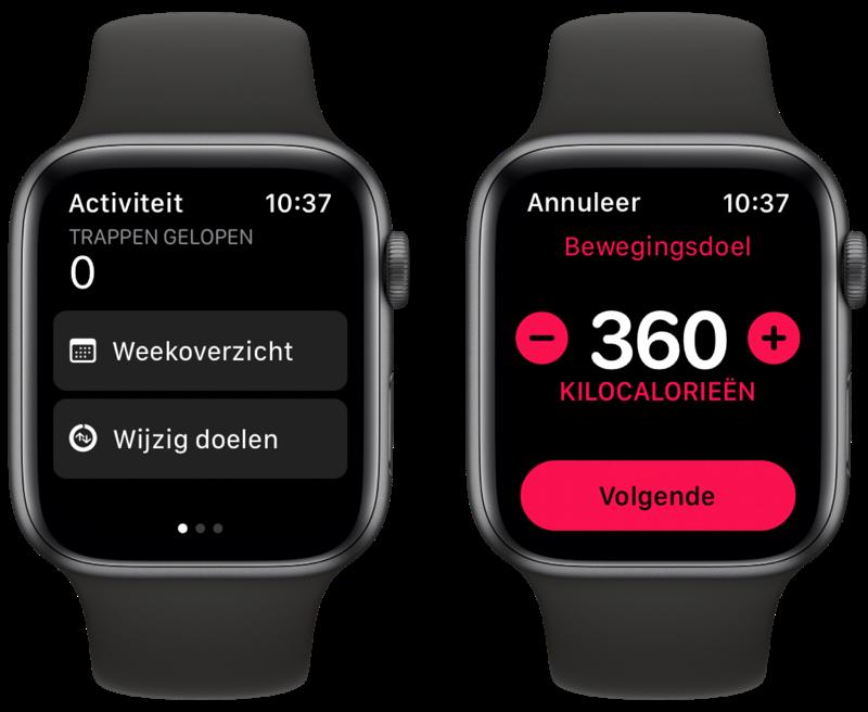Activiteit-app bewegingsdoel wijzigen op Apple Watch.