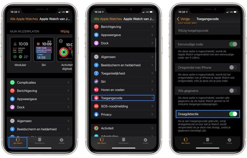 Draagdetectie controleren in Watch-app