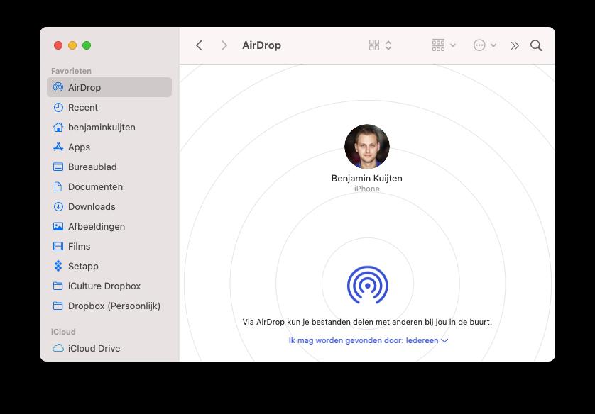 AirDrop op de Mac via de Finder.