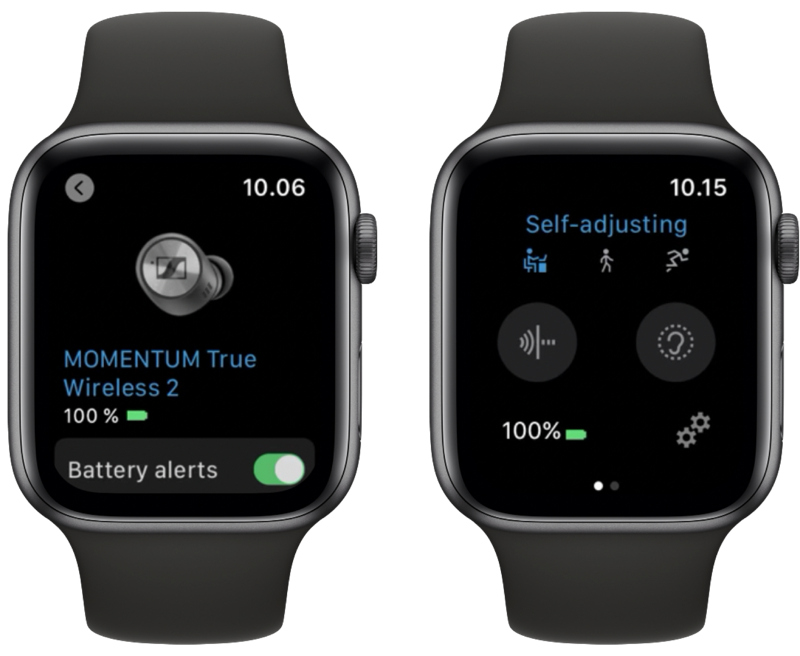 Sennheiser Smart Control op Apple Watch met oordopje.