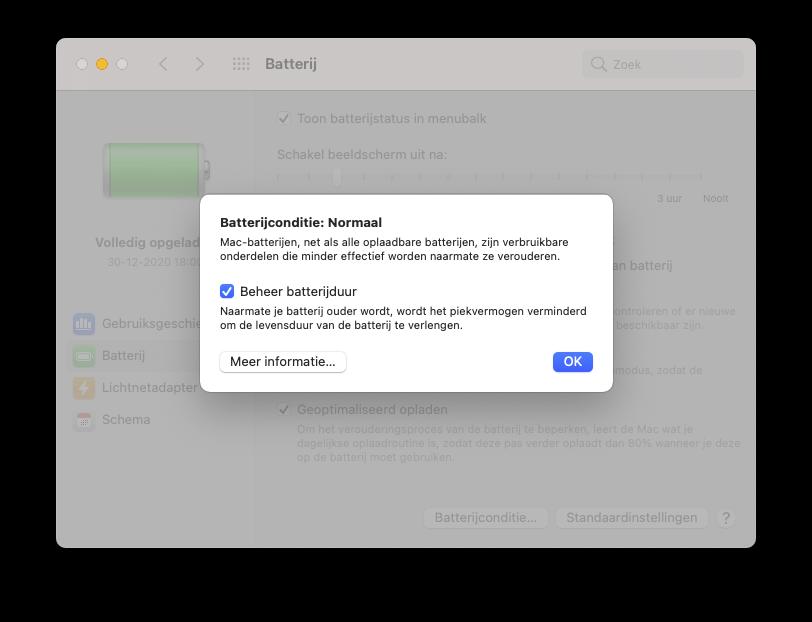 Batterijconditiebeheer op MacBook.