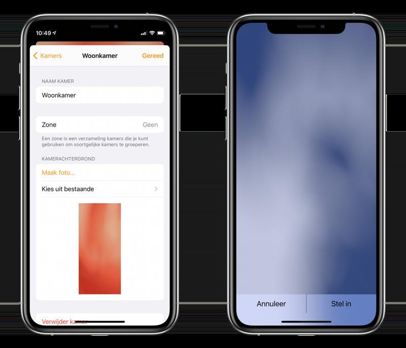 Wijzig de achtergrond van je HomeKit kamers in de Woning-app.