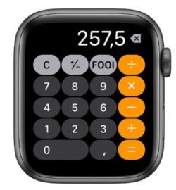 Ook de Apple Watch heeft een rekenmachine