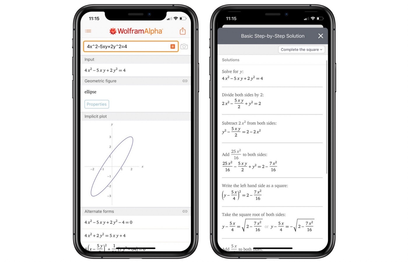 Wolfram op de iPhone
