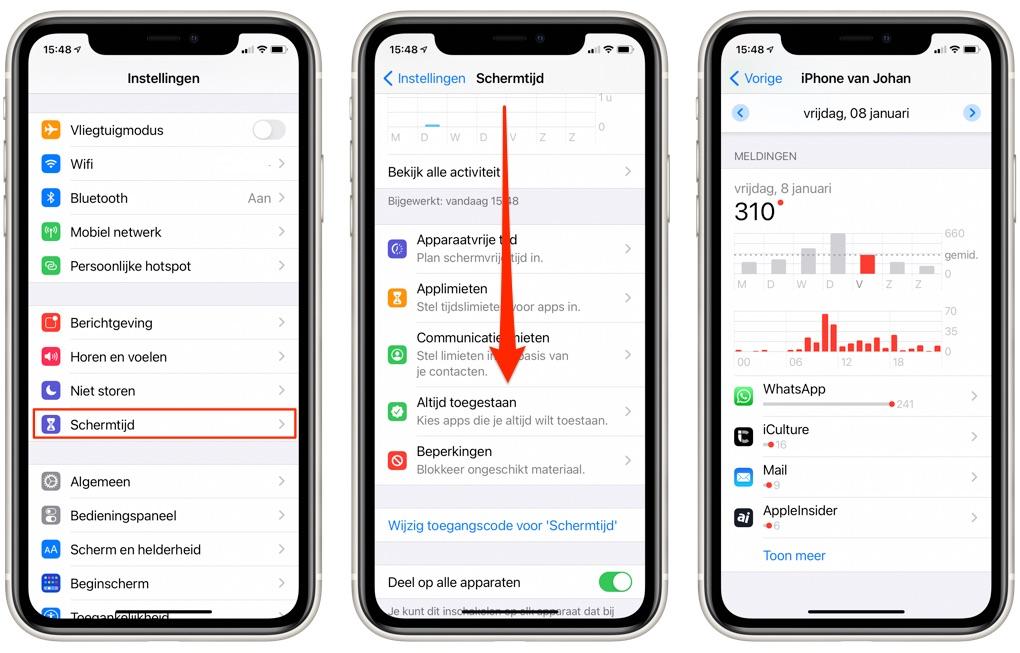 Meldingen bekijken via Schermtijd op je iPhone
