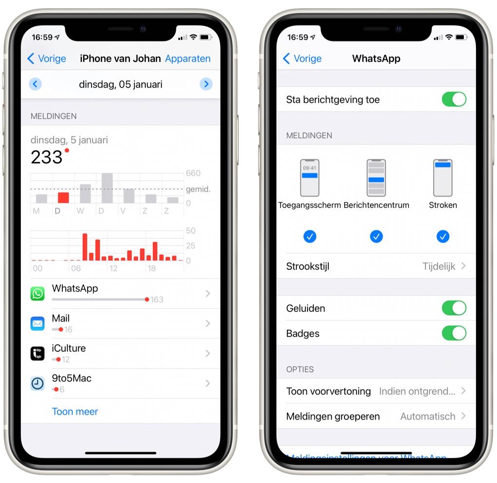 Meldingen aanpassen in Schermtijd iPhone