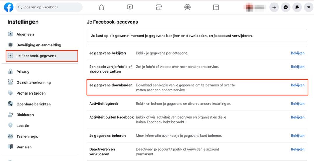 Facebook gegevens downloaden via website