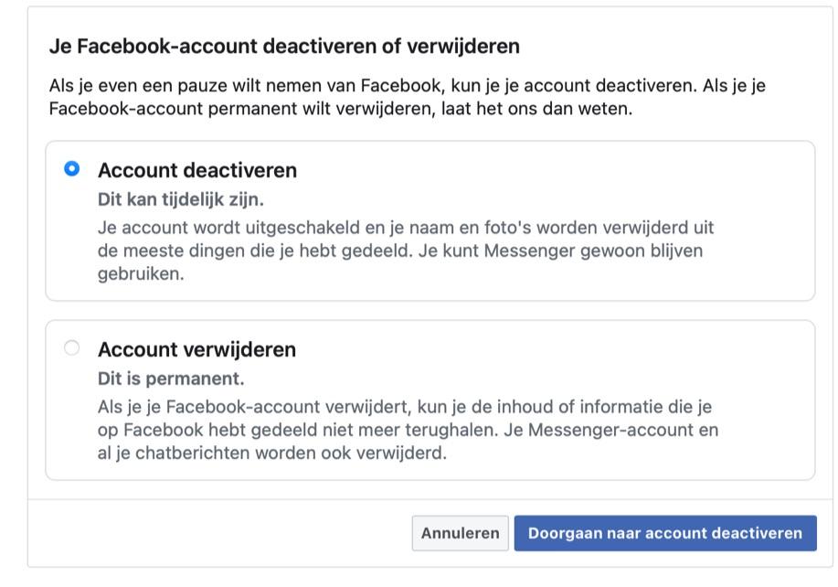 Facebook deactiveren