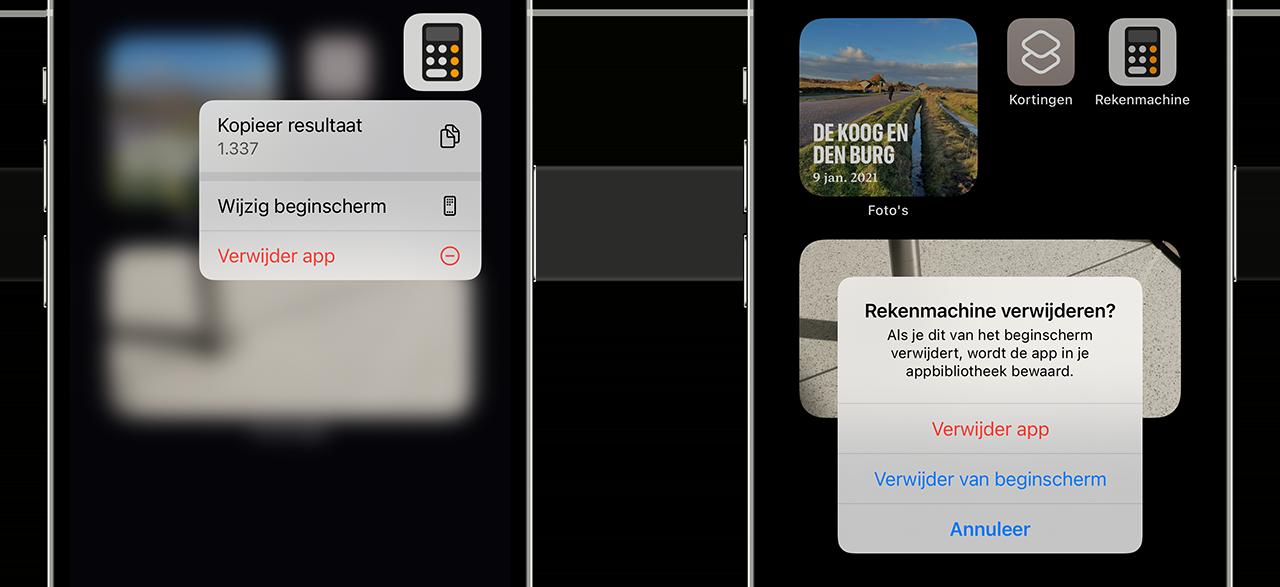 Rekenmachine-app verwijderen van iPhone