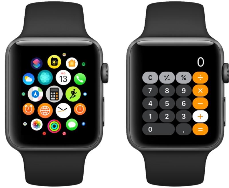 Rekenmachine op Apple Watch