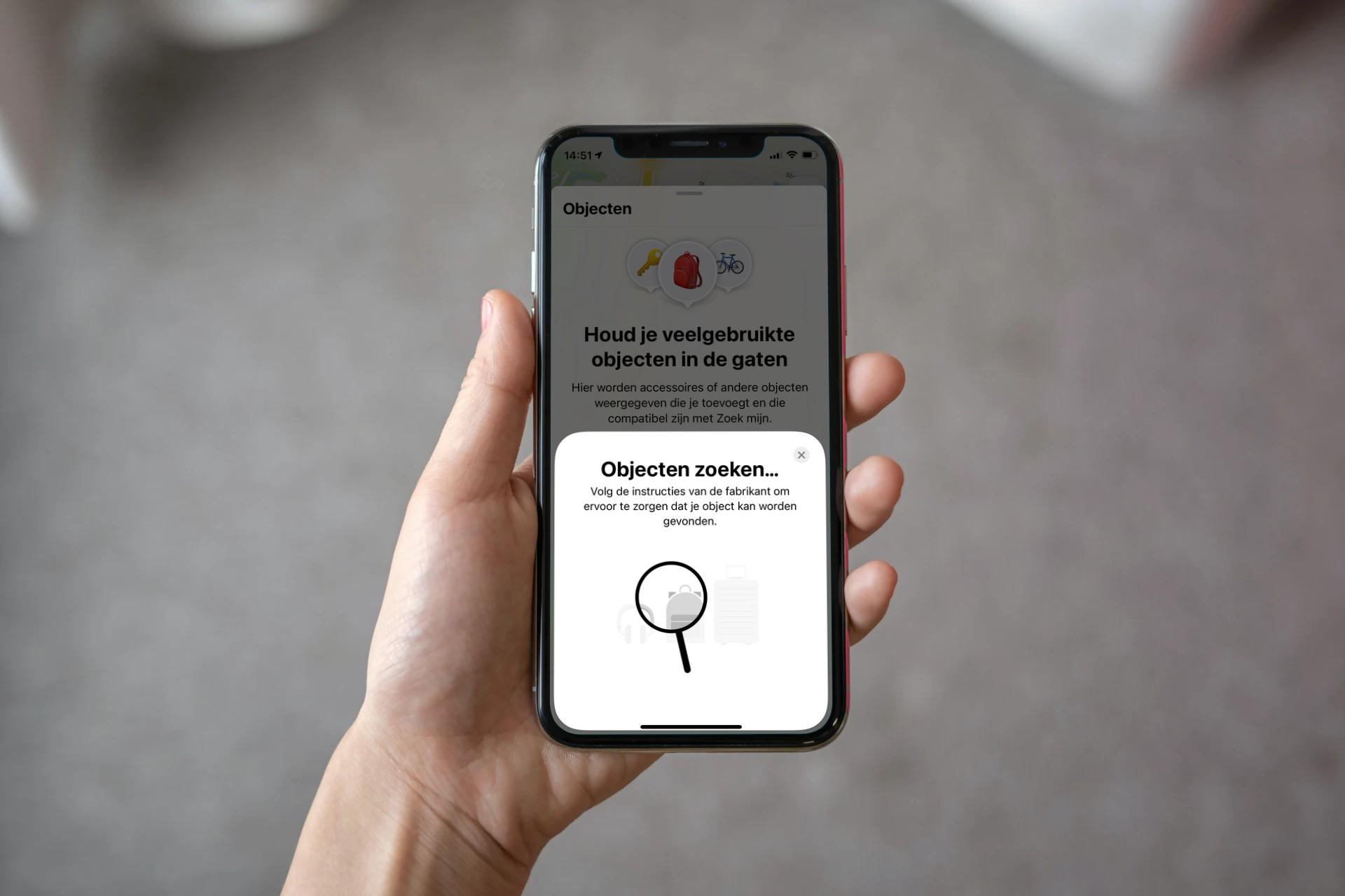 Objecten-menu in Zoek mijn-app.