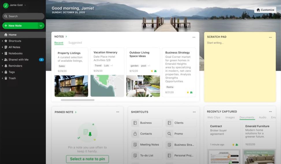 Evernote komt met Home, een gloednieuwe dashboard