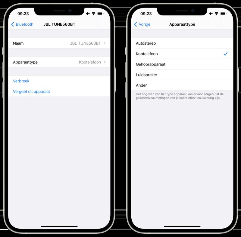 In iOS 14.4 een Bluetooth-apparaat specificeren met Apparaattype.
