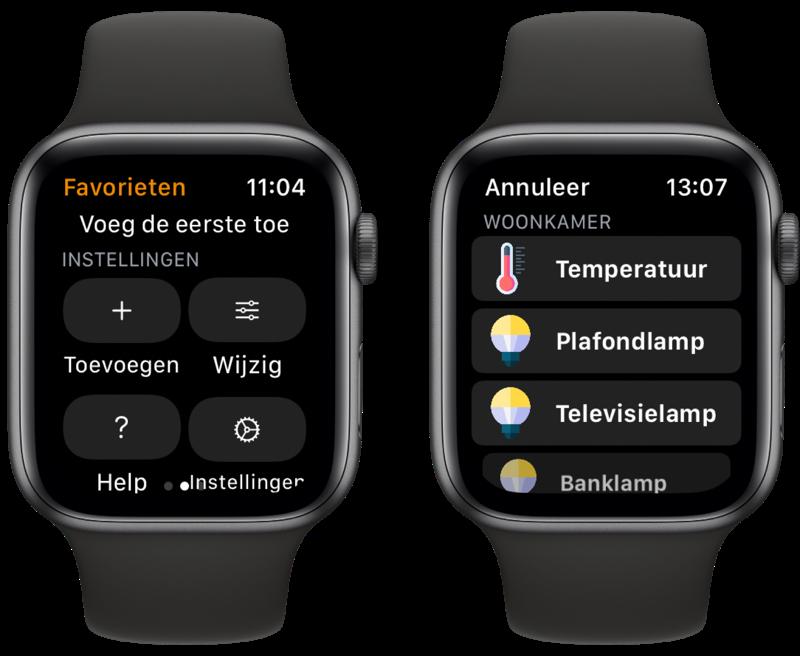 WristControl voor HomeKit: apparaten toevoegen op Apple Watch.