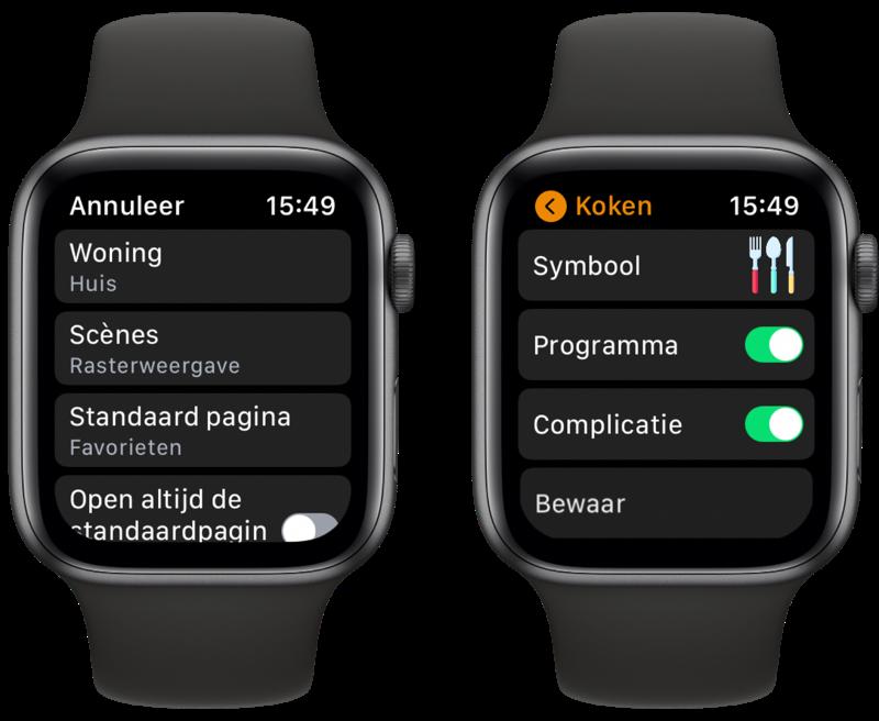 WristControl: instellingen voor HomeKit-app op Apple Watch.