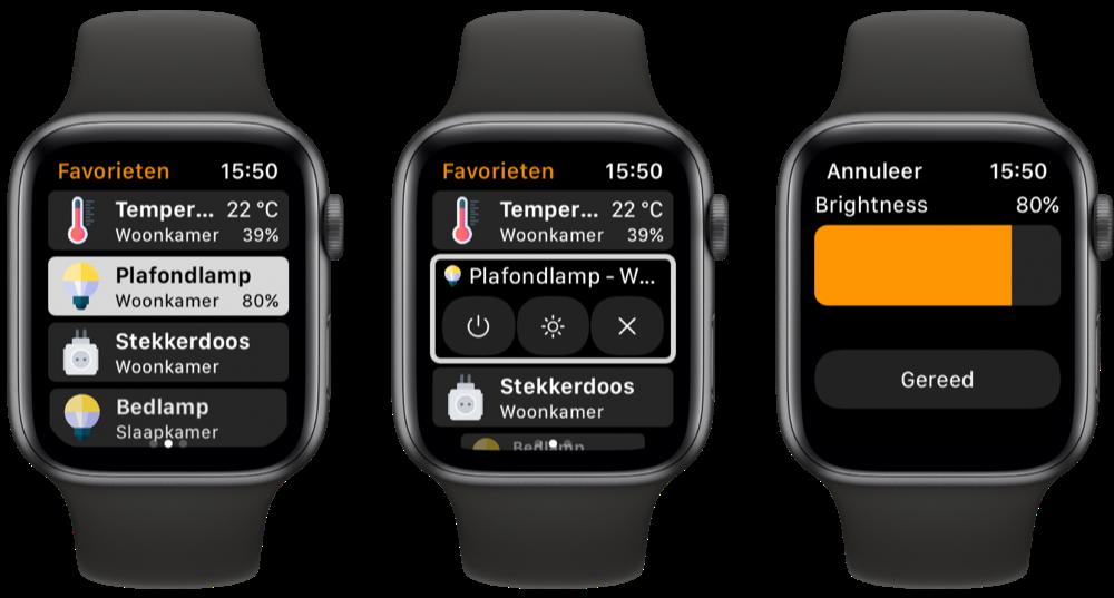 WristControl voor Apple Watch met HomeKit: lamp bedienen.