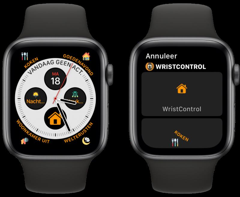 Complicaties op wijzerplaat met WristControl voor Apple Watch.