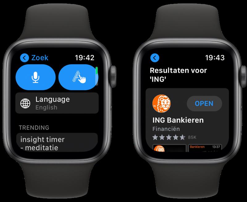 Zoeken in de Apple Watch App Store.