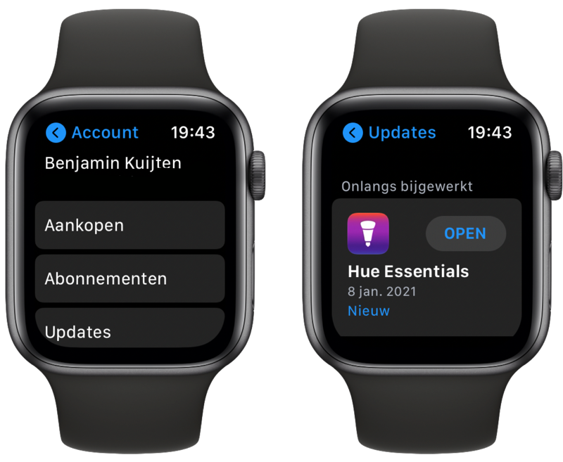 Aankopen en updates in de Apple Watch App Store.
