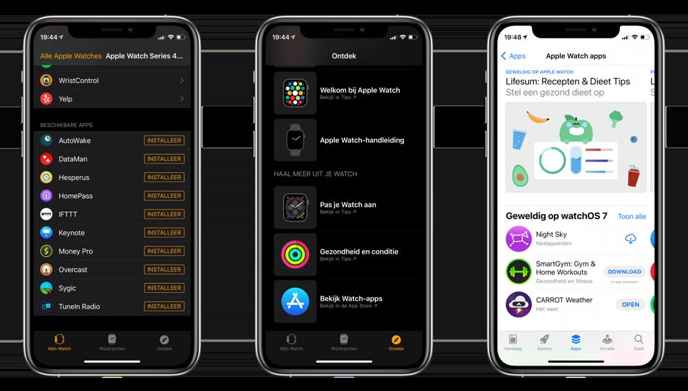 Apps installeren op Apple Watch via Watch-app op iPhone.