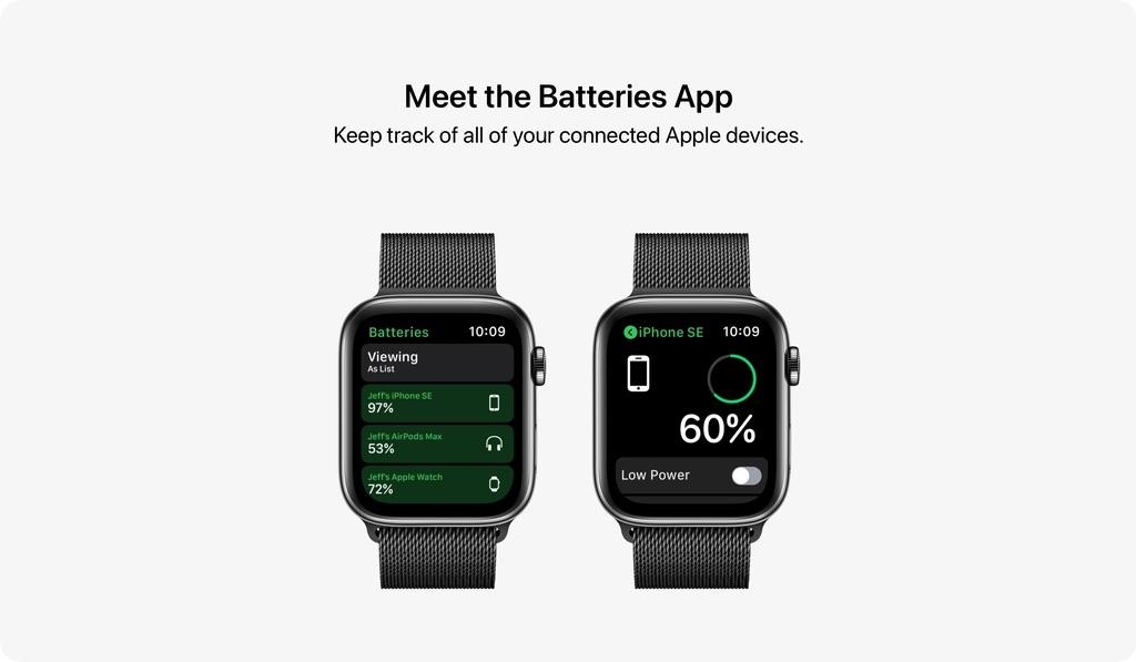 watchOS 8 concept met Batterijen-app.