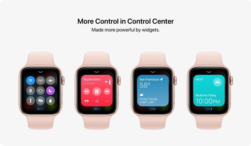 watchOS 8 concept met Control Center en widgets.