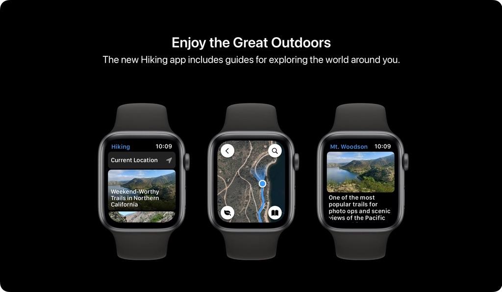 watchOS 8 concept met Hiking-app.