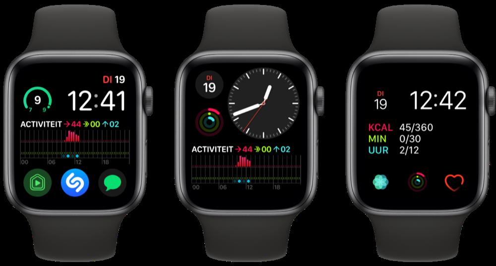Activiteit-ringen op de Apple Watch-wijzerplaat met uitgebreide complicaties.
