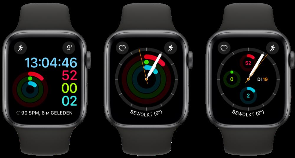 Apple Watch-wijzerplaten voor Activiteit-app.