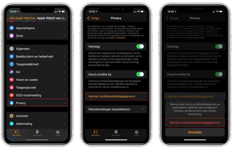 Apple Watch conditiekalibratiegegevens