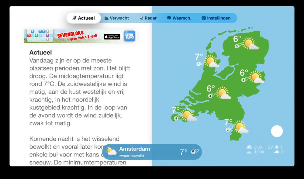 Weerbericht Nederland Apple TV