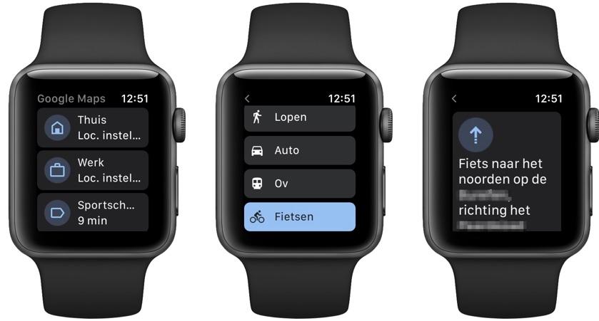 Google Maps fiets Apple Watch
