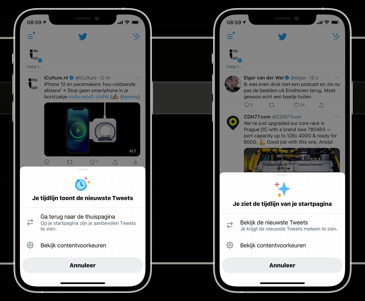 Twitter-berichten op tijd gesorteerd