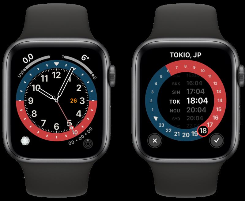 Apple Watch GMT wijzerplaat.