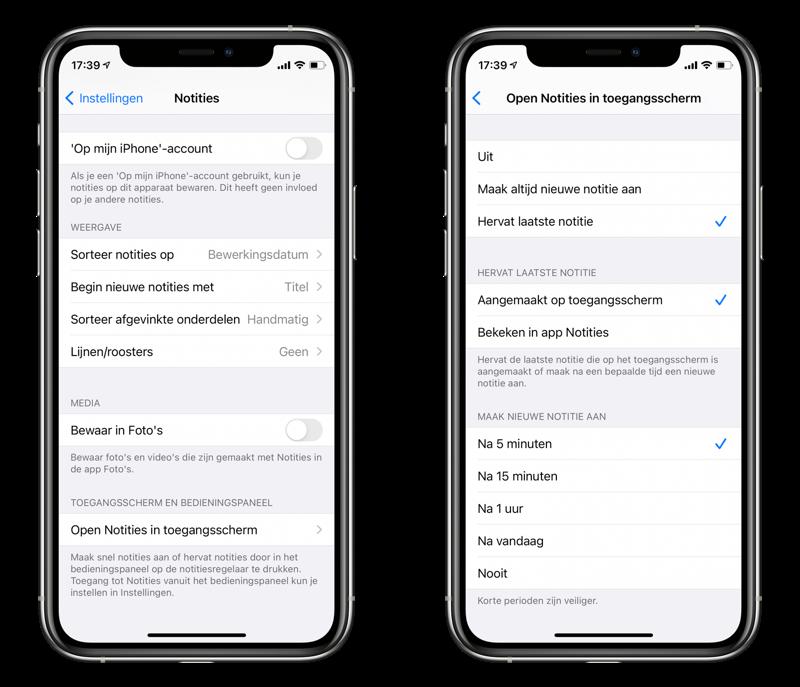 Notities openen vanaf het toegangsscherm op de iPhone.