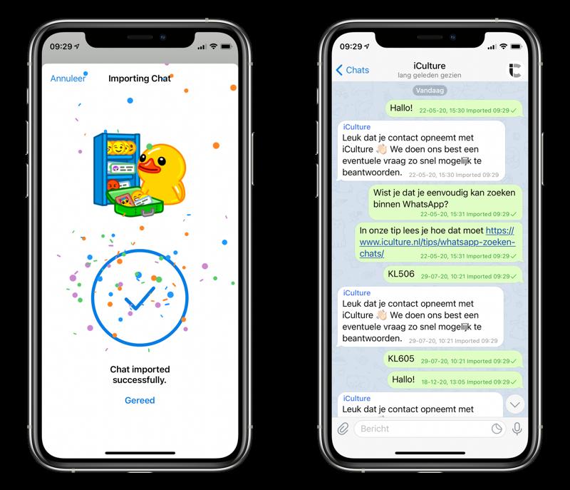 Telegram: chat importeren vanuit WhatsApp.