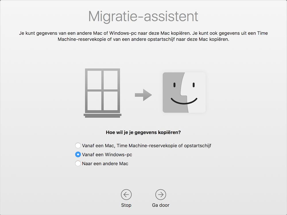 Migratie-assistent van Windows naar Mac
