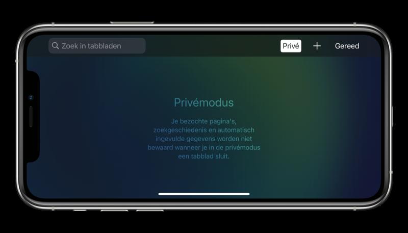 Safari op de iPhone: privévenster openen.
